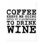 El café me guarda el ir hasta el vino postal