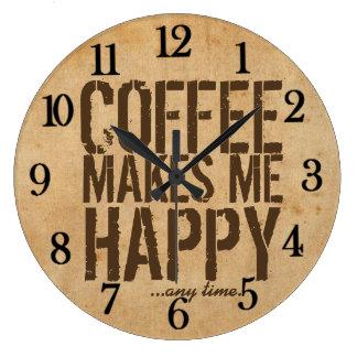 El café me hace feliz en cualquier momento reloj redondo grande