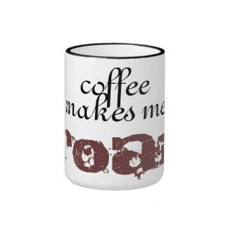 el café me hace. rugido taza de dos colores