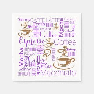 El café nombra el mundo de los sabores servilletas desechables