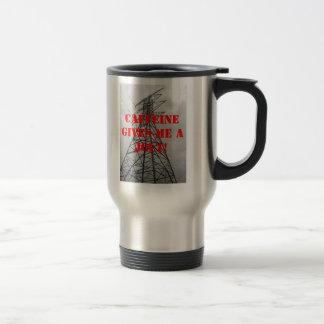 """El """"cafeína me da una sacudida"""" (para los zurdos) taza de viaje"""