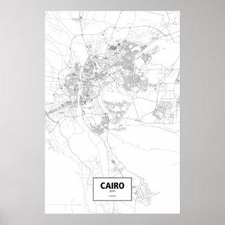 El Cairo, Egipto (negro en blanco) Póster