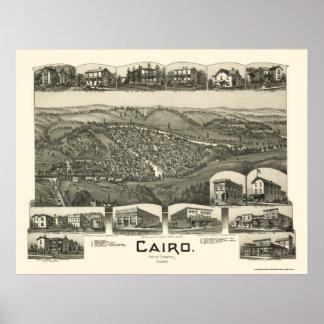 El Cairo, mapa panorámico de WV - 1899 Póster