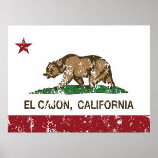 EL Cajon de la bandera del estado de California Poster