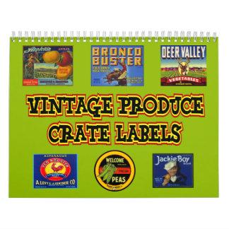 El cajón de la producción del vintage etiqueta el calendario de pared