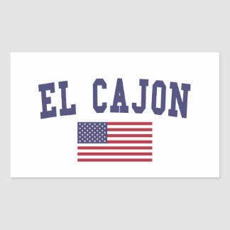El Cajon US Flag Rectangular Sticker