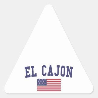 El Cajon US Flag Triangle Sticker