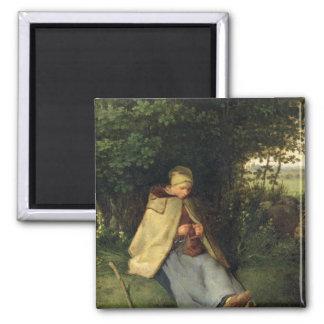 El calcetero o, el Shepherdess asentado, 1858-60 Imán Cuadrado