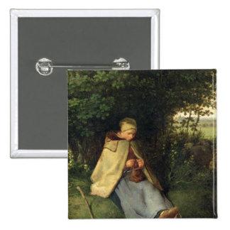 El calcetero o, el Shepherdess asentado, 1858-60 Pin Cuadrado
