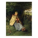 El calcetero o, el Shepherdess asentado, 1858-60 Postal