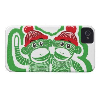 El calcetín Monkeys el caso del iPhone 4 de los Case-Mate iPhone 4 Fundas