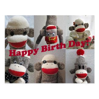 El calcetín Monkeys la tarjeta del feliz cumpleaño Tarjetas Postales