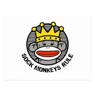El calcetín Monkeys regla Postal