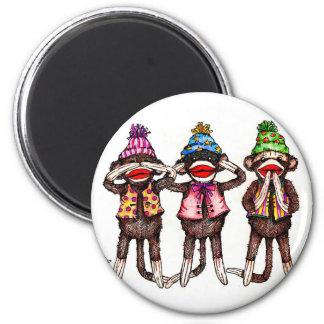 El calcetín Mono-No ve, oye, habla ningún mal Imán Redondo 5 Cm
