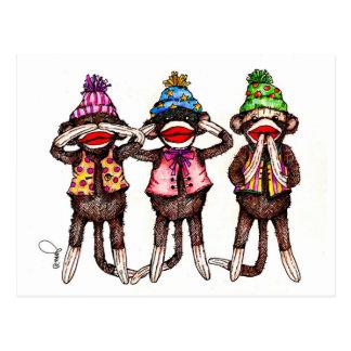 El calcetín Mono-No ve, oye, habla ningún mal Tarjetas Postales