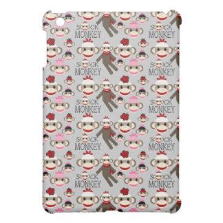 El calcetín rojo y rosado lindo Monkeys el modelo  iPad Mini Protector