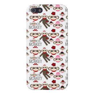 El calcetín rojo y rosado lindo Monkeys el modelo  iPhone 5 Carcasa