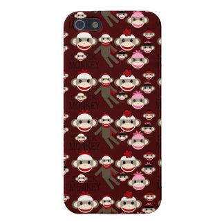 El calcetín rojo y rosado lindo Monkeys el modelo  iPhone 5 Carcasas