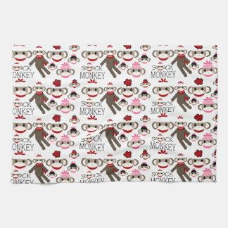 El calcetín rojo y rosado lindo Monkeys el modelo  Toalla De Cocina