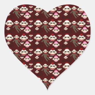 El calcetín rojo y rosado lindo Monkeys el modelo Pegatina En Forma De Corazón