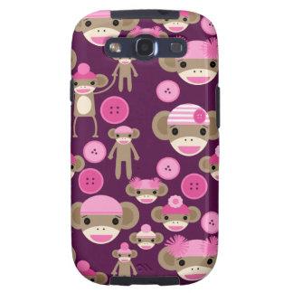 El calcetín rosado femenino lindo Monkeys a chicas Galaxy SIII Cárcasas