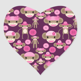 El calcetín rosado femenino lindo Monkeys a chicas Pegatina En Forma De Corazón