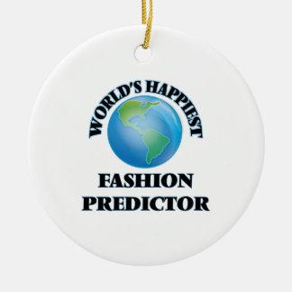 El calculador más feliz de la moda del mundo adorno navideño redondo de cerámica