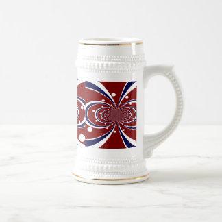 El caleidoscopio azul blanco rojo de la diversión taza