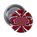 El caleidoscopio azul blanco rojo de la diversión  pin