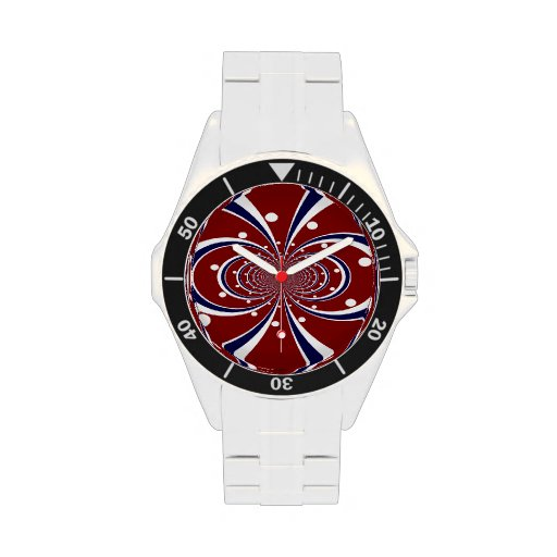 El caleidoscopio azul blanco rojo de la diversión  reloj de mano