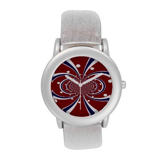 El caleidoscopio azul blanco rojo de la diversión  relojes de mano