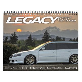 el calendario 2016 del miembro de LegacyGT.com