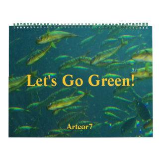 El calendario 2016 va los pescados de oro verdes