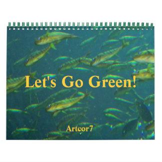 El calendario 2016 va página de oro verde de los