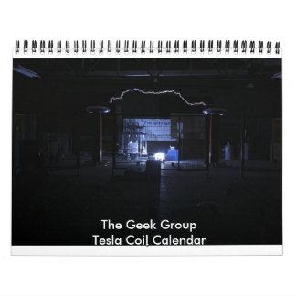 El calendario de la bobina de Tesla del grupo del