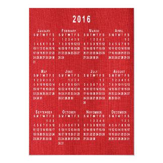 El calendario de lino rojo de la foto 2016 de la invitaciones magnéticas