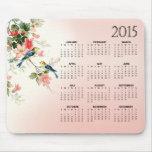 El calendario de los pájaros 2015 del amor del tapete de ratón
