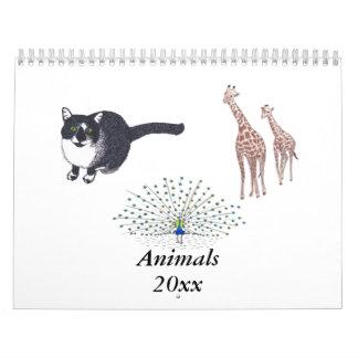 El calendario de pared de los animales elige año