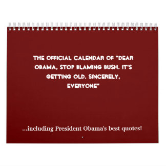 """El calendario oficial de """"estimado Obama, blam de"""
