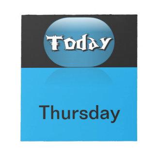 El calendario visual equipa el día de la semana ju bloc de notas