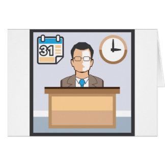 El calendario y el reloj del hombre del puesto de tarjeta de felicitación