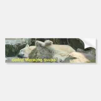 ¡El calentamiento del planeta chupa! Oso polar Bum Etiqueta De Parachoque