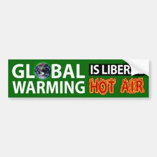 El calentamiento del planeta es aire caliente libe etiqueta de parachoque