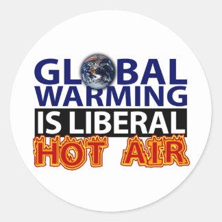 El calentamiento del planeta es aire caliente etiquetas redondas