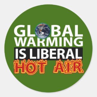 El calentamiento del planeta es aire caliente etiqueta redonda