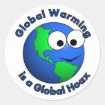 El calentamiento del planeta es broma global pegatina redonda