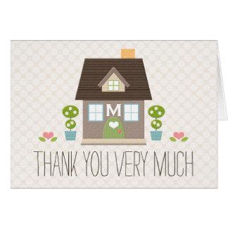 El calentarse con monograma de la casa le agradece tarjeta pequeña