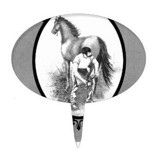 El calzar del caballo del herrador de la acuarela  figuras para tartas