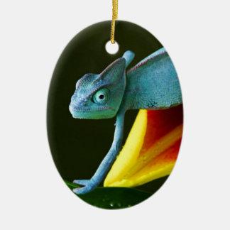 El camaleón asombroso adorno ovalado de cerámica