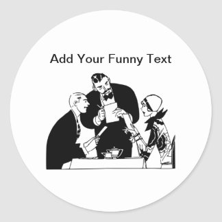 El camarero - humor del restaurante pegatina redonda